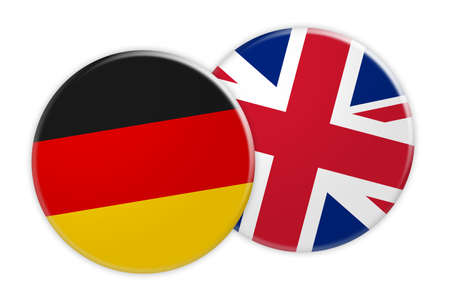 News Concept: Germany Flag Button On UK Flag Button, 3d illustration on white background