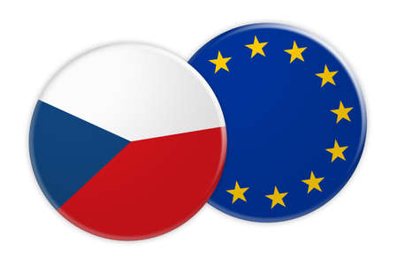 News Concept: Czech Republic Flag Button On EU Flag Button, 3d illustration on white background Stock Photo