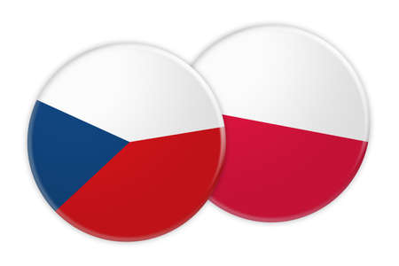 rival: News Concept: Czech Republic Flag Button On Poland Flag Button, 3d illustration on white background