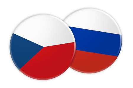 treaty: News Concept: Czech Republic Flag Button On Russia Flag Button, 3d illustration on white background