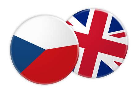 News Concept: Czech Republic Flag Button On UK Flag Button, 3d illustration on white background Stock Photo