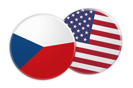 treaty: News Concept: Czech Republic Flag Button On USA Flag Button, 3d illustration on white background Stock Photo
