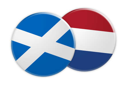 News Concept: Scotland Flag Button On Netherlands Flag Button, 3d illustration on white background