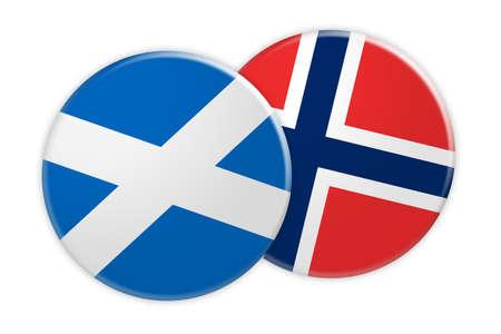 flag: News Concept: Scotland Flag Button On Norway Flag Button, 3d illustration on white background