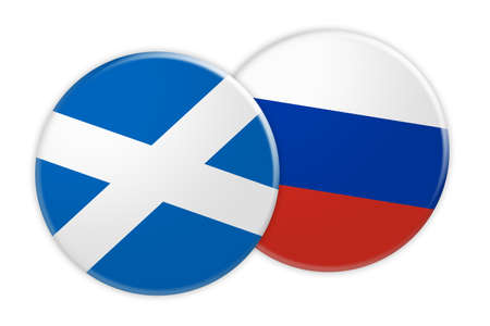 News Concept: Scotland Flag Button On Russia Flag Button, 3d illustration on white background Stock Photo