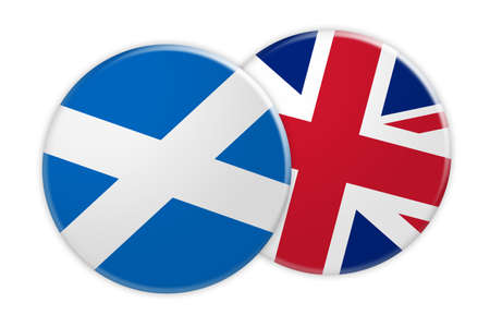 rival: News Concept: Scotland Flag Button On UK Flag Button, 3d illustration on white background
