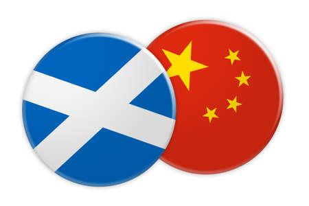 News Concept: Scotland Flag Button On China Flag Button, 3d illustration on white background Stock Photo