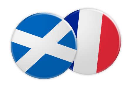 News Concept: Scotland Flag Button On France Flag Button, 3d illustration on white background