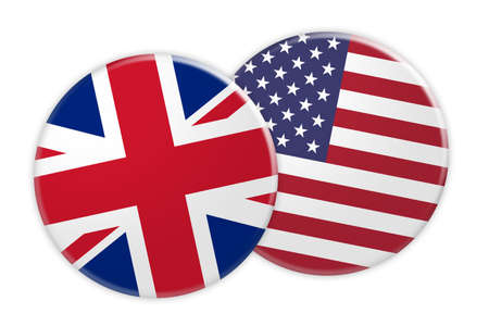 News Concept: UK Great Britain Flag Button On US Flag Button, 3d illustration on white background Stock Photo