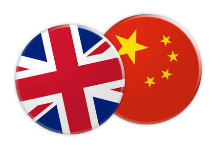 rival: News Concept: UK Great Britain Flag Button On China Flag Button, 3d illustration on white background Stock Photo