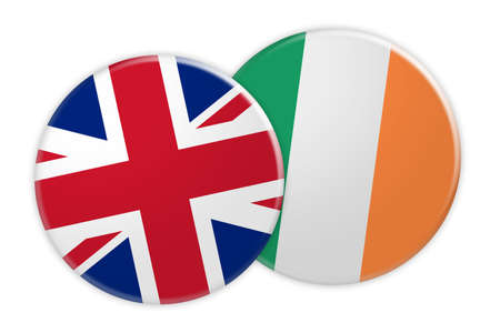 treaty: News Concept: UK Great Britain Flag Button On Ireland Flag Button, 3d illustration on white background