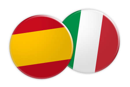 News Concept: Spain Flag Button On Italy Flag Button, 3d illustration on white background Stock Photo