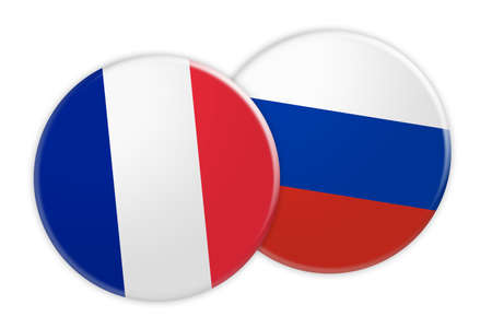 News Concept: France Flag Button On Russia Flag Button, 3d illustration on white background