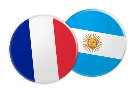 rival: News Concept: France Flag Button On Argentina Flag Button, 3d illustration on white background Stock Photo