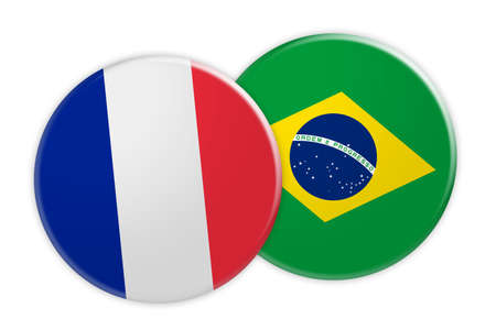 News Concept: France Flag Button On Brazil Flag Button, 3d illustration on white background