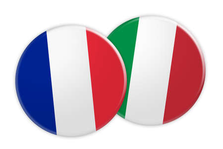 News Concept: France Flag Button On Italy Flag Button, 3d illustration on white background
