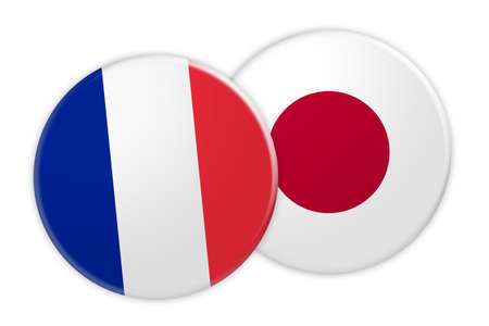 News Concept: France Flag Button On Japan Flag Button, 3d illustration on white background Stock Photo