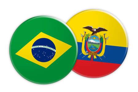 News Concept: Brazil Flag Button On Ecuador Flag Button, 3d illustration on white background