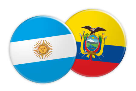 rival: News Concept: Argentina Flag Button On Ecuador Flag Button, 3d illustration on white background