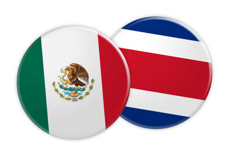 News Concept: Mexico Flag Button On Costa Rica Flag Button, 3d illustration on white background