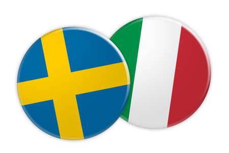 rival: News Concept: Sweden Flag Button On Italy Flag Button, 3d illustration on white background