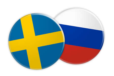 News Concept: Sweden Flag Button On Russia Flag Button, 3d illustration on white background