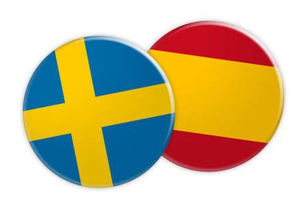 News Concept: Sweden Flag Button On Spain Flag Button, 3d illustration on white background