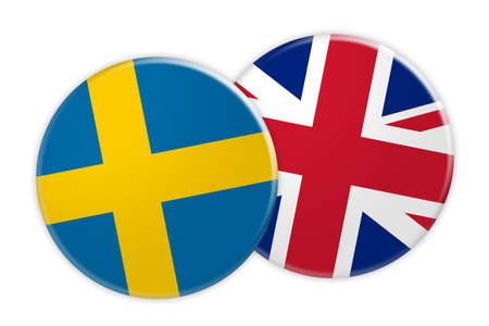 News Concept: Sweden Flag Button On UK Flag Button, 3d illustration on white background