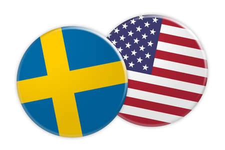 News Concept: Sweden Flag Button On USA Flag Button, 3d illustration on white background Stock Photo