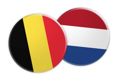 treaty: News Concept: Belgium Flag Button On Netherlands Flag Button, 3d illustration on white background Stock Photo