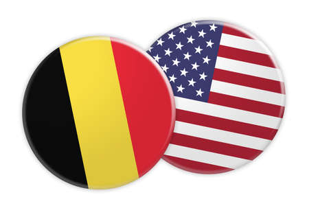 News Concept: Belgium Flag Button On USA Flag Button, 3d illustration on white background Stock Photo
