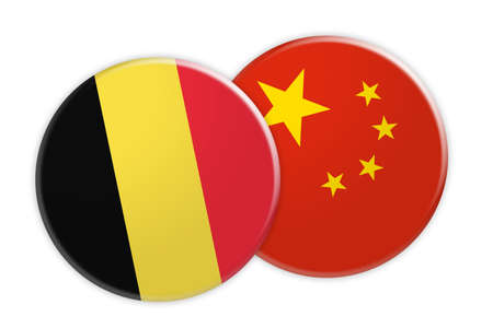 News Concept: Belgium Flag Button On China Flag Button, 3d illustration on white background Stock Photo