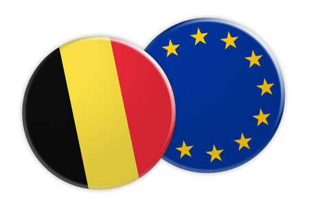 News Concept: Belgium Flag Button On EU Flag Button, 3d illustration on white background Stock Photo