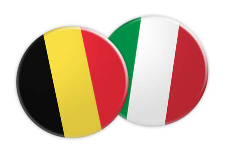 News Concept: Belgium Flag Button On Italy Flag Button, 3d illustration on white background Stock Photo