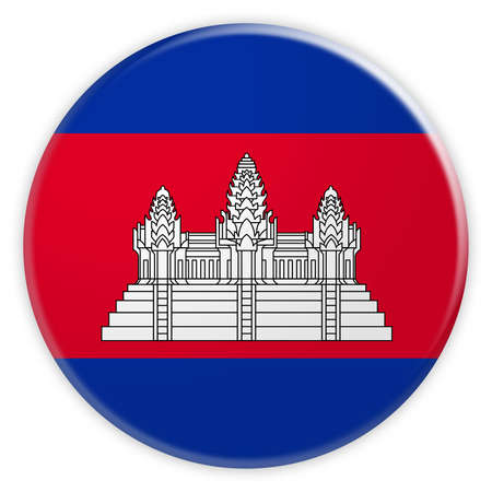 cambodian: Cambodia Flag Button, News Concept Badge, 3d illustration on white background