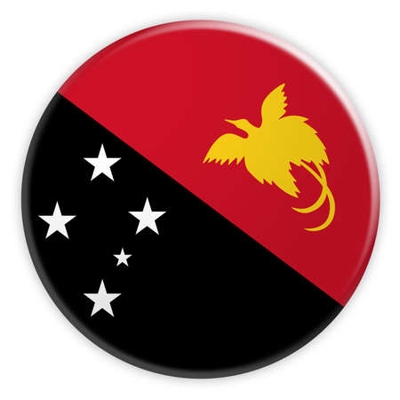 Papua New Guinea Flag Button, News Concept Badge, 3d illustration on white background