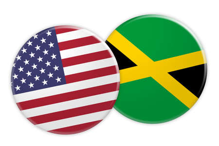 jamaican: US News Concept: USA Flag Button On Jamaica Flag Button, 3d illustration on white background