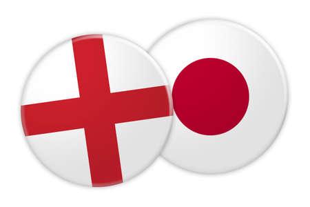 News Concept: England Flag Button On Japan Flag Button, 3d illustration on white background Stock Photo