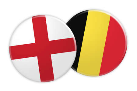 News Concept: England Flag Button On Belgium Flag Button, 3d illustration on white background Stock Photo