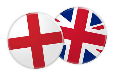 News Concept: England Flag Button On UK Flag Button, 3d illustration on white background