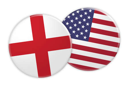 News Concept: England Flag Button On USA Flag Button, 3d illustration on white background