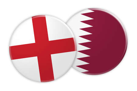 treaty: News Concept: England Flag Button On Qatar Flag Button, 3d illustration on white background