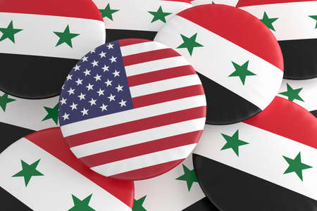 syrian civil war: Syrian Civil War Concept Badges: USA And Syria Flag Buttons, 3d illustration Stock Photo