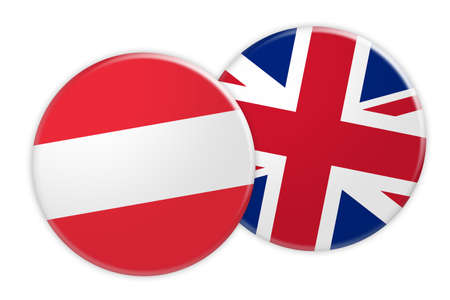 News Concept: Austria Flag Button On UK Flag Button, 3d illustration on white background
