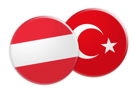 foreign national: News Concept: Austria Flag Button On Turkey Flag Button, 3d illustration on white background