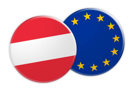 News Concept: Austria Flag Button On EU Flag Button, 3d illustration on white background