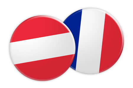 treaty: News Concept: Austria Flag Button On France Flag Button, 3d illustration on white background