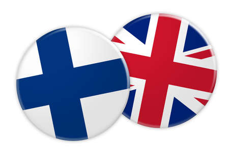 News Concept: Finland Flag Button On UK Flag Button, 3d illustration on white background Stock Photo