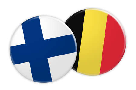 finnish: News Concept: Finland Flag Button On Belgium Flag Button, 3d illustration on white background