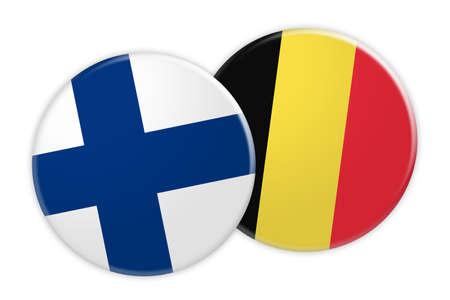 News Concept: Finland Flag Button On Belgium Flag Button, 3d illustration on white background